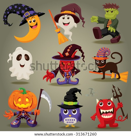 Vintage Halloween character design - stock vector