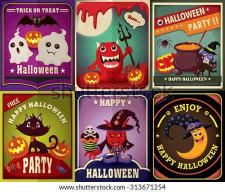 Vintage Halloween character poster design set - stock vector