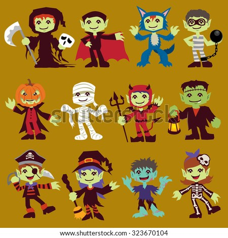 Vintage Halloween character poster design set with reaper, vampire, wolf man, prisoner, mummy, pirate, witch, zombie, skeleton - stock vector