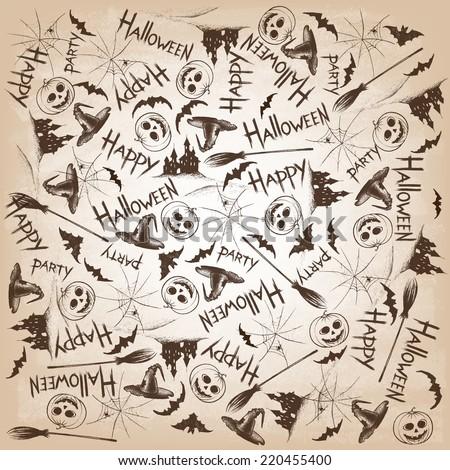 Vintage Halloween Hand Drawn Set . Hand drawn chalk elements.Vector illustration. - stock vector