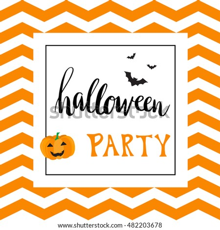 Vintage halloween party invitation card template with black bats and pumpkin. Hand written lettering phrase Halloween Party on chevron zigzag pattern. Can be used for banner, poster and web design.