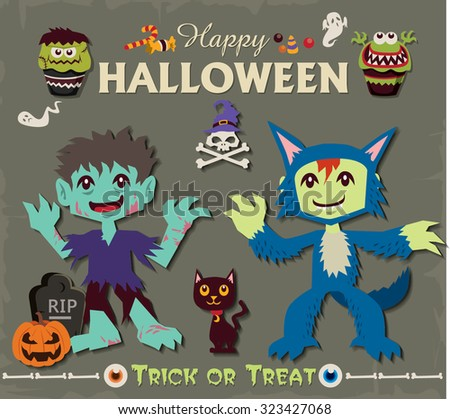 Vintage Halloween poster design set with wolf man & zombie - stock vector