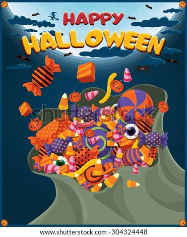 Vintage Halloween poster design with bag of candies - stock vector