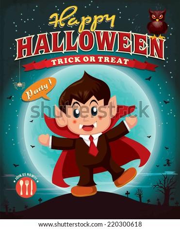 Vintage Halloween poster design with children in vampire costume - stock vector