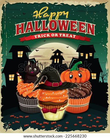 Vintage Halloween poster design with cupcakes  - stock vector
