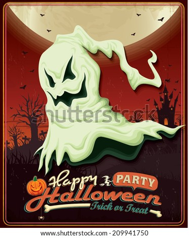 Vintage Halloween poster design with ghost - stock vector