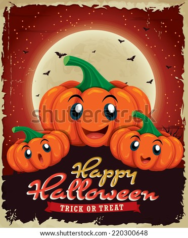 Vintage Halloween poster design with pumpkin - stock vector