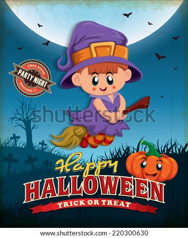Vintage Halloween poster design with witch  - stock vector