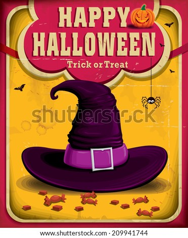 Vintage Halloween poster design with witch hat - stock vector