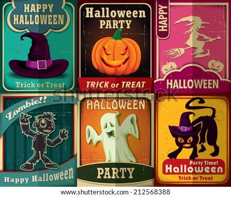 Vintage Halloween poster set design - stock vector