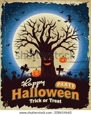 Vintage Halloween poster set design with monster tree - stock vector