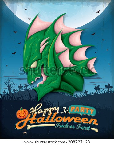 Vintage Halloween poster set design with swamp creature - stock vector
