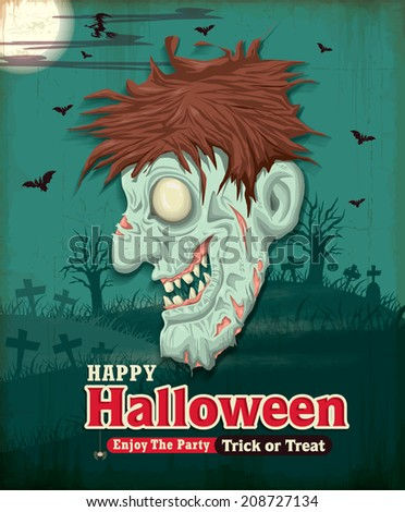 Vintage Halloween poster set design with zombie