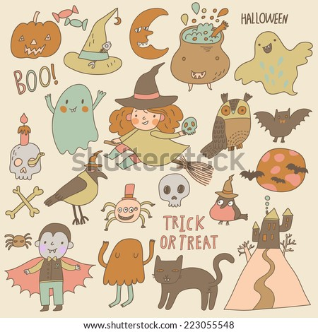Vintage Halloween set in vector. A lot of scary holiday symbols in cute cartoon style