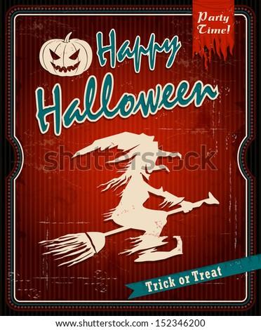 Vintage Halloween witch poster design with pumpkin head - stock vector