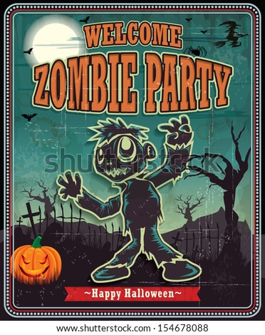 Vintage Halloween zombie poster design - stock vector