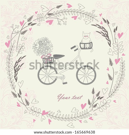 Vintage hand drawn background with bicycle, cat, bouquet and floral frame with heart. - stock vector