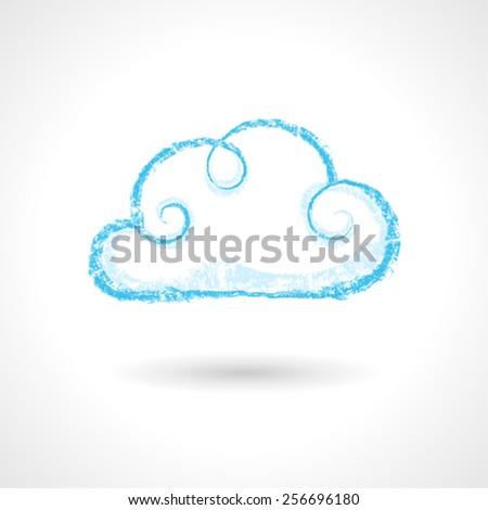 Vintage Hand Drawn Cloud Symbol - stock vector