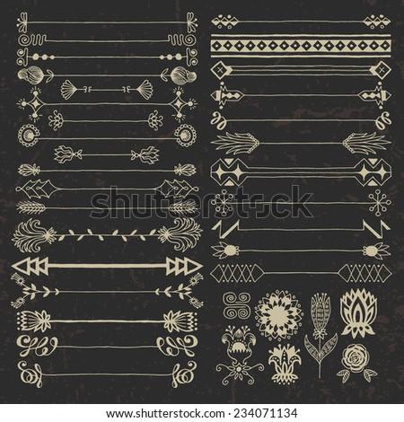 Vintage hand drawn design elements set 10 dark. Vector illustration. - stock vector