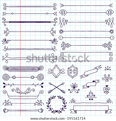 Vintage hand drawn design elements set 1. School notebook. Vector illustration. - stock vector