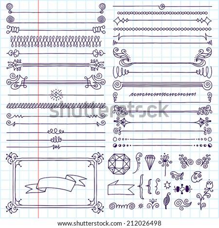 Vintage hand drawn design elements set 5. School notebook. Vector illustration. - stock vector