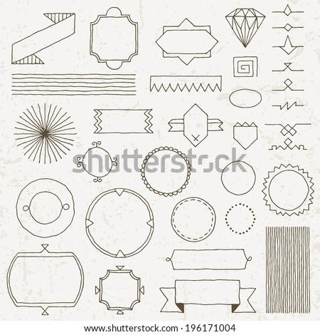 Vintage hand drawn design elements set 4. Vector illustration. - stock vector