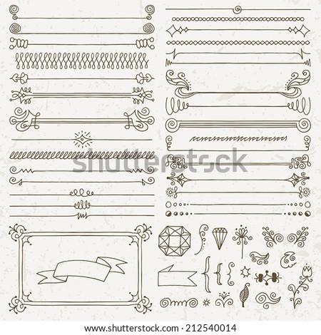 Vintage hand drawn design elements set 5. Vector illustration. - stock vector