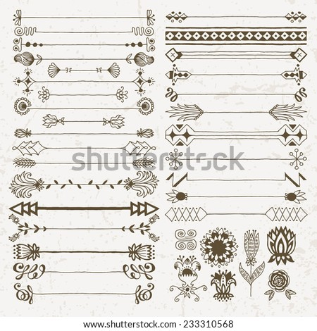 Vintage hand drawn design elements set 10. Vector illustration. - stock vector
