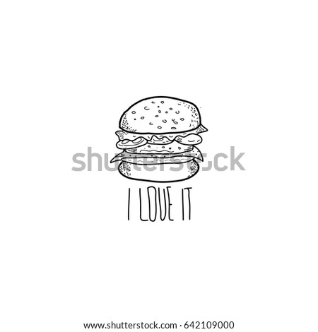 Vintage hand drawn doodle fast food seamless pattern. Vector burger background. Sketch. Black and white style.