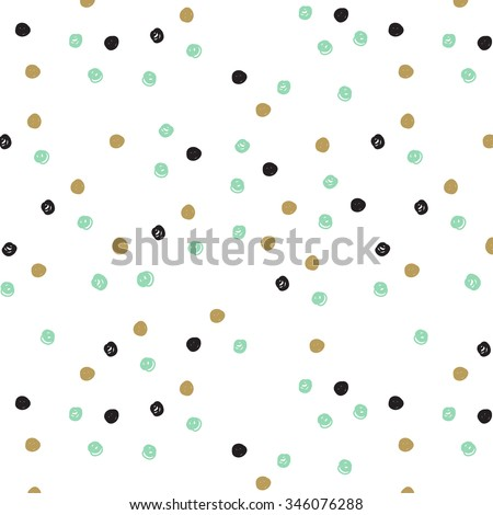Vintage hand drawn doodle seamless pattern with black,  blue mint and gold dots. Polka dot cute background. Design  for paper, wallpaper, textile, fabric, and other projects.