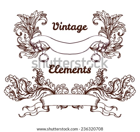 Vintage hand drawn elements for banners, ribbons, vector illustration. Copy space for your text.  - stock vector