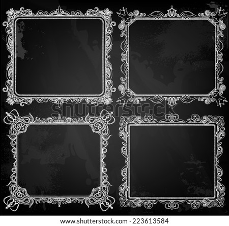Vintage hand drawn frames - stock vector