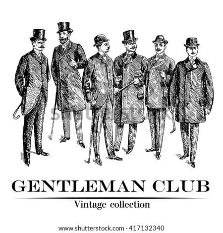 Vintage Hand Drawn Gentleman Set. Men's clothing. Retro Illustration in ancient engraving style. Monochrome style. Vintage Club Emblem - stock vector