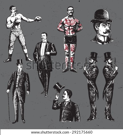 Vintage Hand Drawn Gentlemen Set - stock vector
