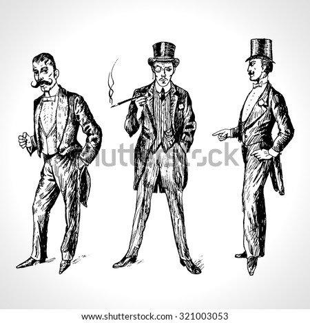 Vintage Hand Drawn Gentlemen Set. Men's fashion of the 20s. Illustration in ancient engraving style