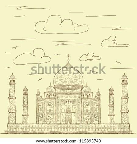 vintage hand drawn illustration of famous tourist destination taj mahal of India. - stock vector