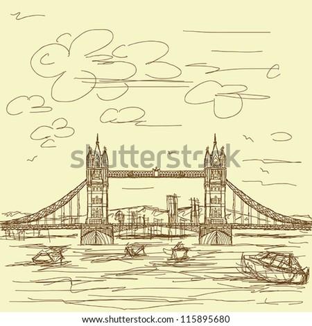 vintage hand drawn illustration of famous tourist destination tower bridge of london. - stock vector