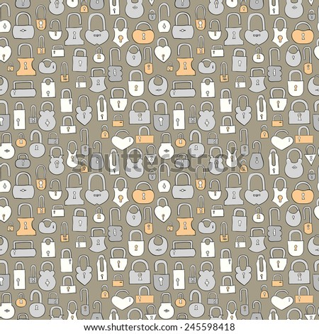 vintage hand drawn locks seamless pattern