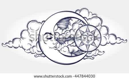 Vintage hand drawn moon, sun and night sky. Vector illustration for coloring book, t-shirts design, tattoo.Vector illustration. - stock vector
