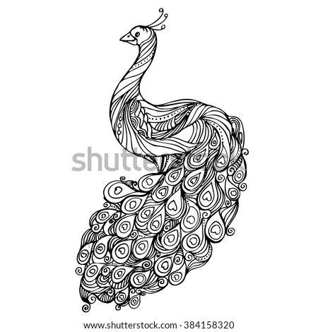 vintage hand drawn pattern black and white doodle peacock design sketch for adult antistress