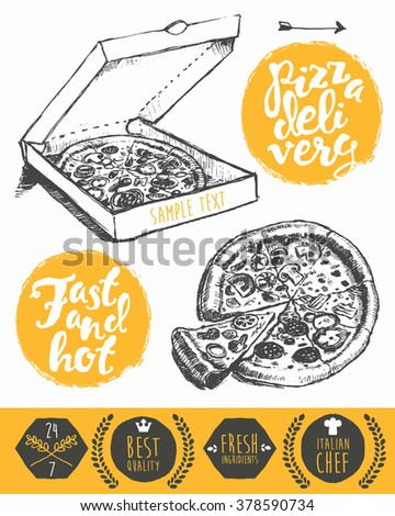 Vintage hand drawn pizza in cardboard box with place for your text. Pizzeria labels, badges and design elements - stock vector