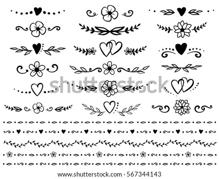 Vintage Hand Drawn Set Of Floral Dividers Borders And Rustic Design Elements
