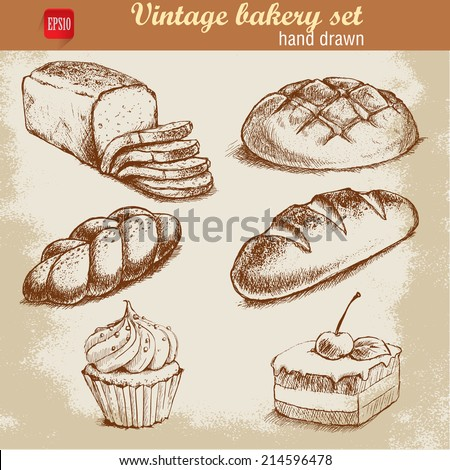 Vintage hand drawn sketch style bakery set. Bread and pastry sweets on grunge background. - stock vector