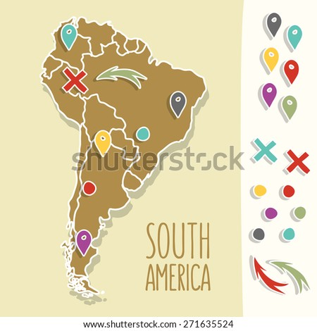 Vintage Hand drawn South America travel map with pins vector illustration - stock vector