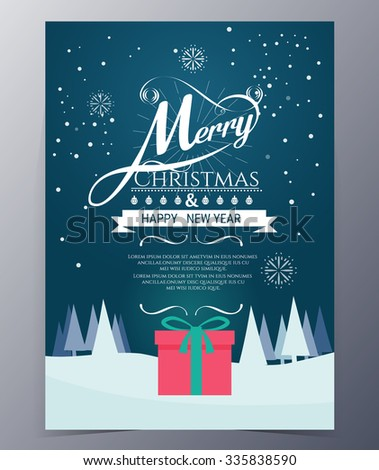 Vintage hand drawn typography design , Merry Christmas card  cartoon vector illustration
