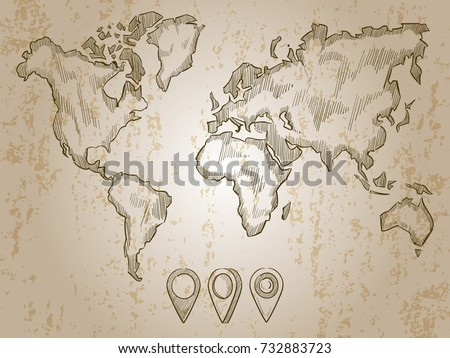 Vintage hand drawn world map doodle stock vector 732883723 vintage hand drawn world map and doodle pins world map earth travel sketch sciox Image collections