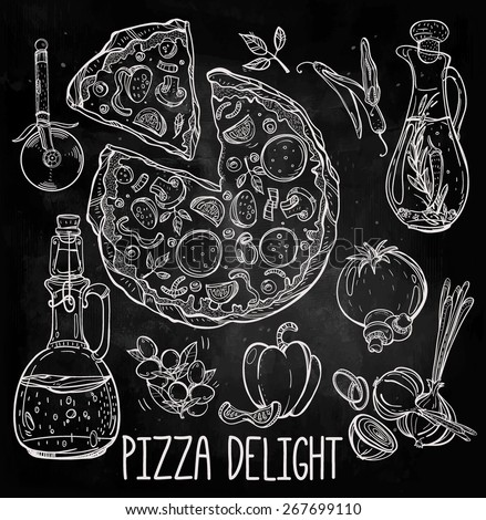 Vintage hand drown Italian tasty sliced pizza design elements set. Vector illustration. Ingredients: onion pepper parsley cheese tomato basil oil mushroom, olives and cutter. Isolated on chalkboard.  - stock vector
