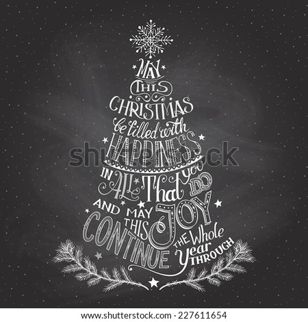 Vintage hand-lettering Christmas tree greeting card with chalk on blackboard background - stock vector
