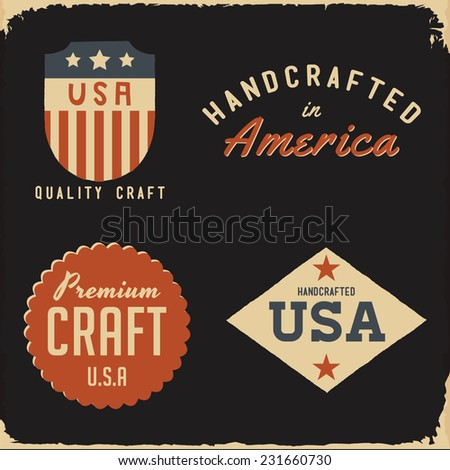 Vintage Handcrafted Label Set - Design elements for hand made goods and apparel - stock vector