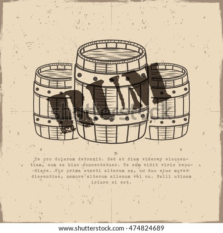 Vintage handcrafted poster template old barrels stock vector vintage handcrafted poster template with old barrels and vector sign rum sketching filled style maxwellsz